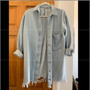 Zara oversized denim blouse